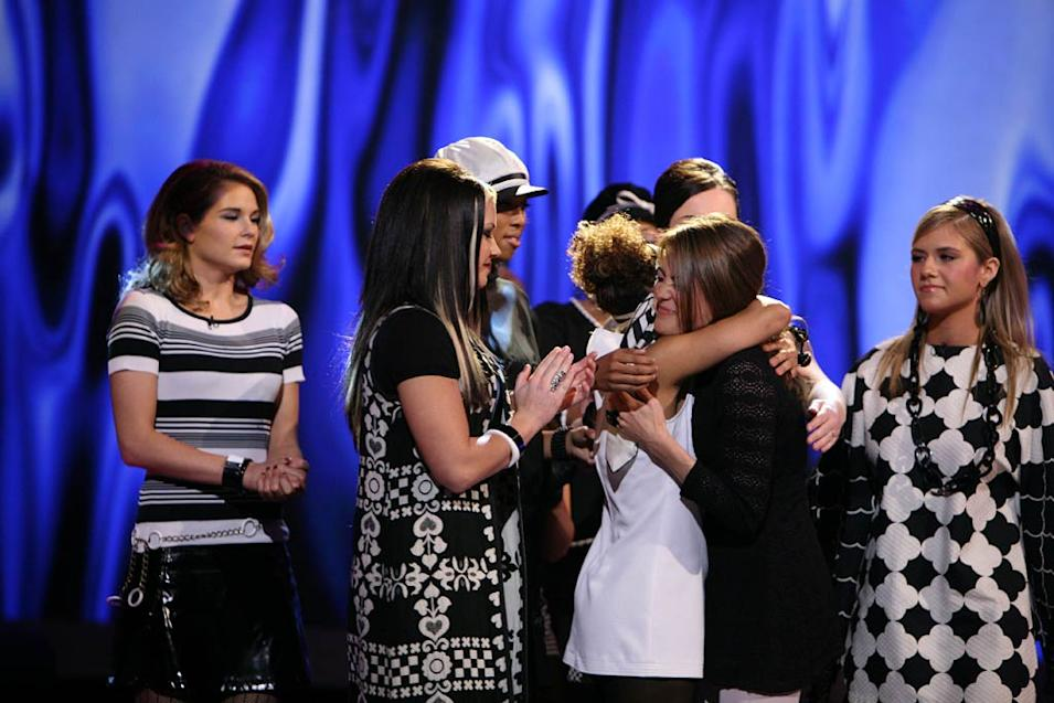 Amy Davis says goodbye after she is eliminated from the 7th season of American Idol.