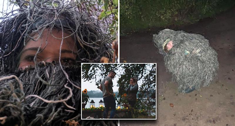 Woman disguises herself as a bush to covertly capture her sister's proposal