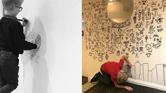 Seorang bocah berusia 9 tahun kerap ditegur gurunya karena selalu menggambar, kini ia menjadi pelukis di sebuah kafe. (Sumber: Boredpanda)