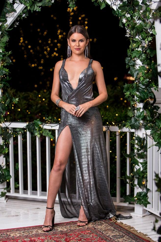 Renee J Barrett in a silver metallic dress on The Bachelor