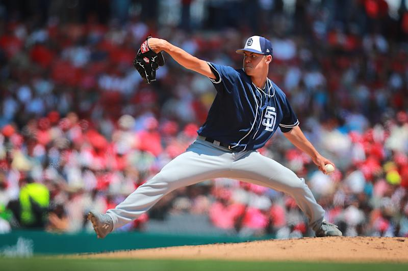 MEXICO CITY, MEXICO - MARCH 24: Mackenzie Gore of San Diego Padres pitches in the 1st inning during the friendly game between San Diego Padres and Diablos Rojos at Alfredo Harp Helu Stadium on March 24, 2019 in Mexico City, Mexico. (Photo by Hector Vivas/Getty Images)