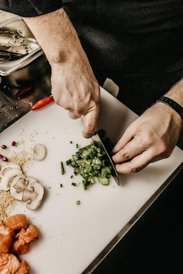 <p>Always keep your fingers tucked in on your non-dominant hand, using your upper knuckles to guide your knife as you slice, advises . If your fingers remain tucked in, there's no way to cut them! Also, avoid laying your forefinger over the spine of the knife.</p>