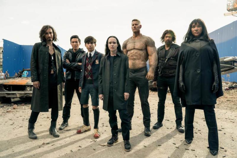 The Umbrella Academy cast on the set of season 2