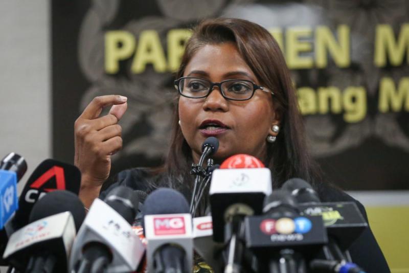Batu Kawan MP Kasthuriraani Patto speaks during a press conference at Parliament in Kuala Lumpur July 14, 2020. — Picture by Yusof Mat Isa