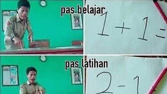 Meme tanya jawab soal dengan guru di kelas (Sumber: 1cak)