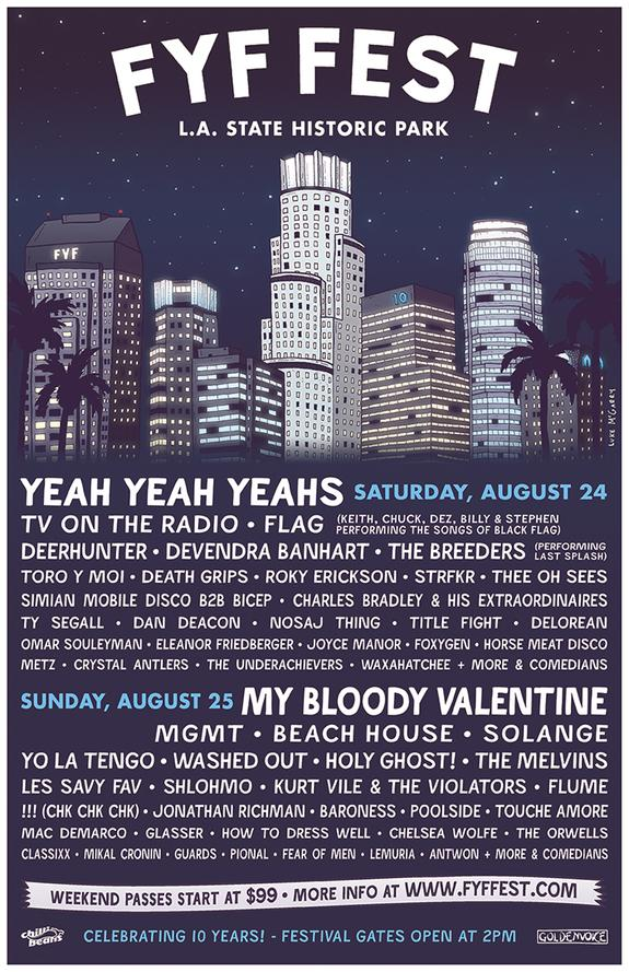 My Bloody Valentine, Yeah Yeah Yeahs, TV On The Radio, MGMT Top 2013 FYF Fest Lineup