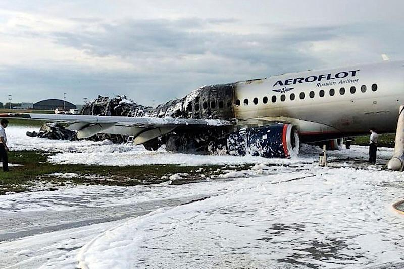 Russian Aeroflot plane engulfed in flames at Moscow airport