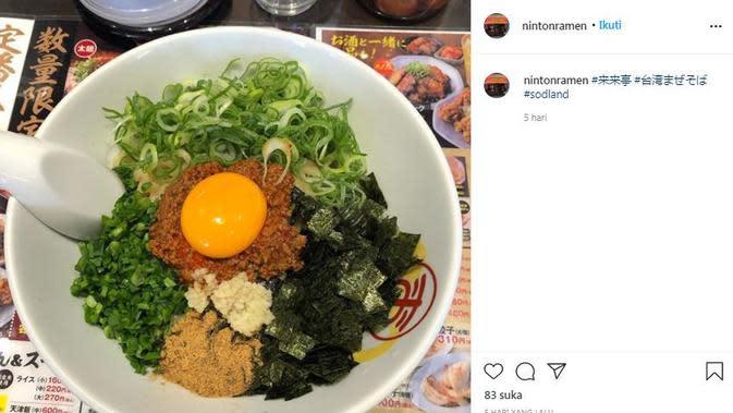 Salah satu makanan yang disajikan di SOD Land (Dok.Instagram/@nintonramen/https://www.instagram.com/p/CGLaTsjAjxL/Komarudin)