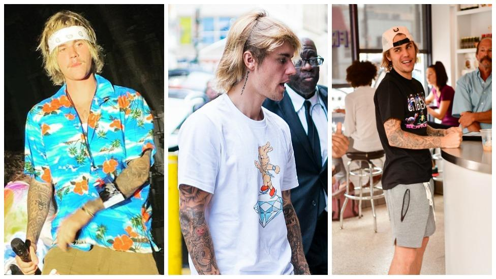 83895038a1 Justin Bieber's new look: long hair and baggy clothes