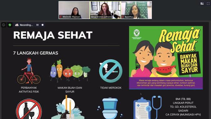 Penjelasan Dr Reisa Broto Asmoro agar remaja sehat dan bisa mencegah terjadinya stunting pada anak di diskusi daring Saatnya Remaja Berperan Cegah Stunting yang diselenggarakan Tanoto Foundation.