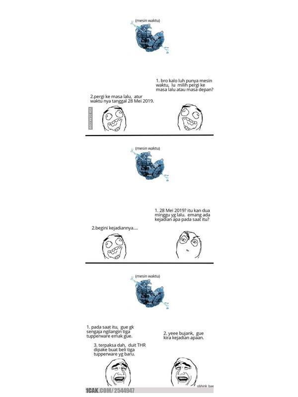 Meme pakai mesin waktu (Sumber: 1cak.com)