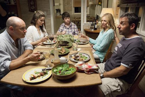 """This film publicity image released by Fox Searchlight shows, from left, Rob Corddry, Amanda Peet, Liam James, Toni Collette and Steve Carell in a scene from """"The Way Way Back."""" (AP Photo/Fox Searchlight, Claire Folger)"""