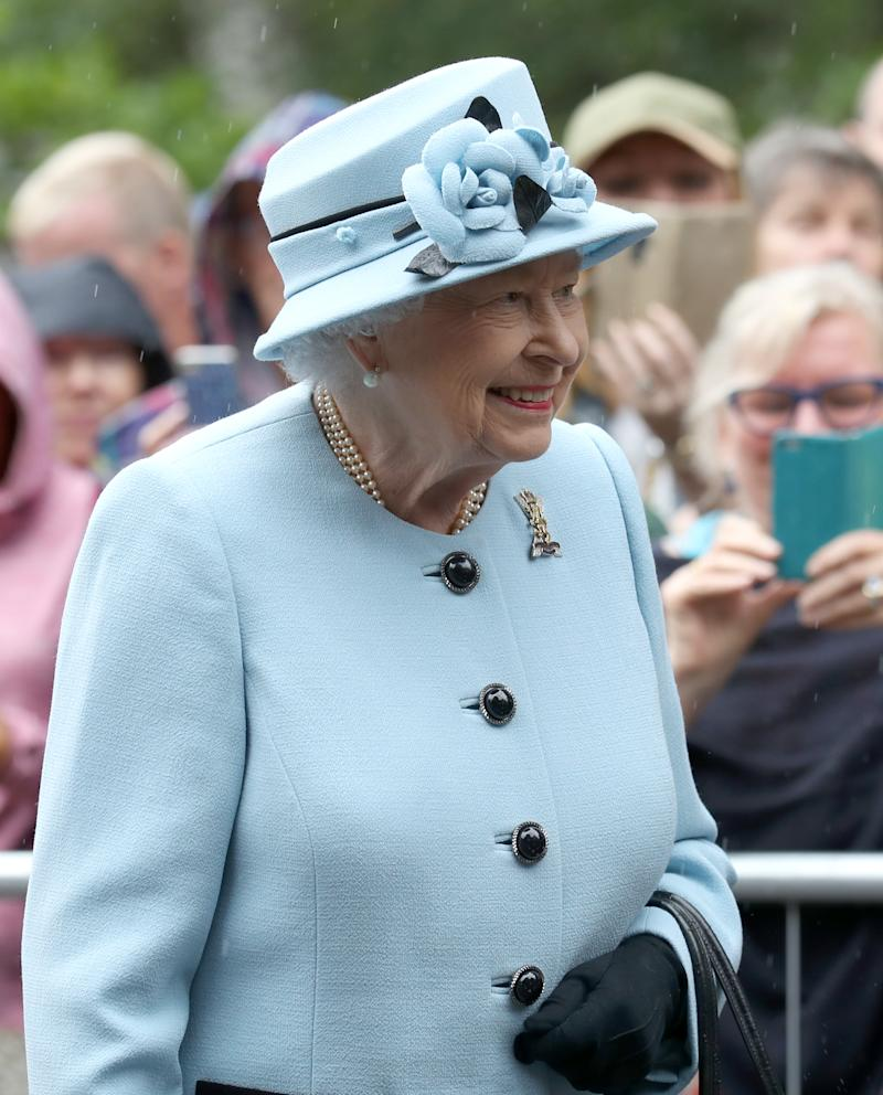 Queen Elizabeth II during an inspection of the Balaklava Company, 5 Battalion The Royal Regiment of Scotland at the gates at Balmoral, as she takes up summer residence at the castle. (Photo by Andrew Milligan/PA Images via Getty Images)