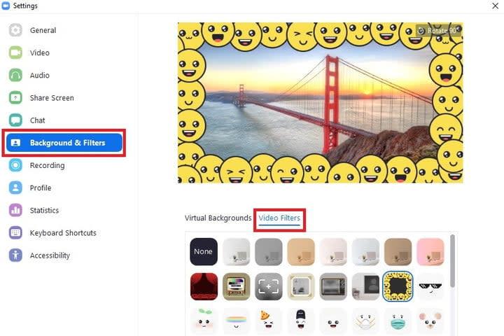 Add filter to zoom video screenshot