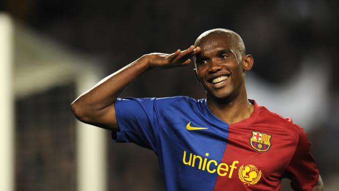 Samuel Eto'o - Samuel Eto'o merupakan predator mematikan yang pernah dimiliki Barcelona pada 2004-2009. Selama lima musim berkostum Barcelona, Eto'o mencatatkan 130 gol dari 199 penampilan di berbagai kompetisi. (AFP/Lluis Gene)