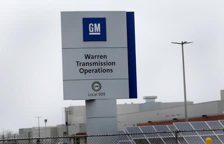 A sign for General Motors Warren Transmission Operations plant is seen in Warren, Michigan, U.S. November 26, 2018. REUTERS/Rebecca Cook
