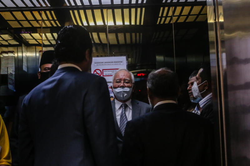Former Prime Minister Datuk Seri Najib Razak is pictured at the Kuala Lumpur High Court July 1, 2020. — Picture by Firdaus Latif