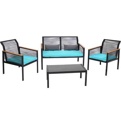 sunnydaze decor coachford black 4 piece resin rattan outdoor patio furniture set with teal cushions