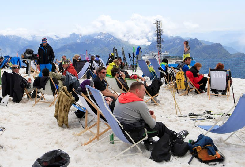 People ski on the slopes of Kanin after the Slovenian government called an official end to the country's coronavirus disease (COVID-19) outbreak, in Kanin