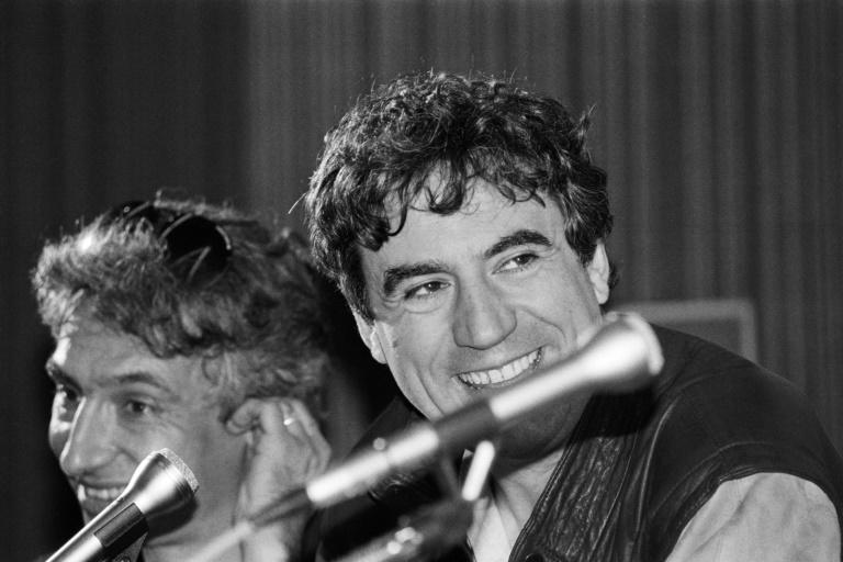 "Terry Jones is pictured in Cannes in 1983 during the presentation of ""The Meaning of Life"""