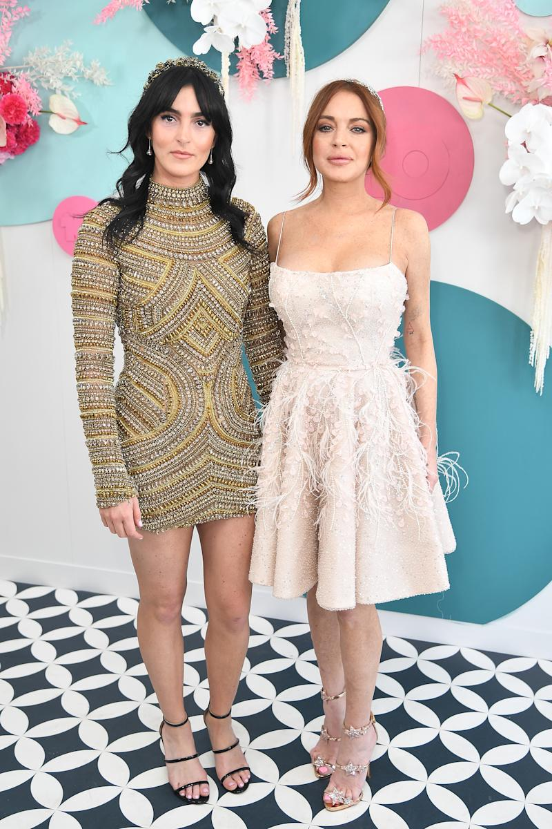 MELBOURNE, AUSTRALIA - NOVEMBER 05: Lindsay Lohan and Aliana Lohan attend the Network 10 marquee on Melbourne Cup Day at Flemington Racecourse on November 05, 2019 in Melbourne, Australia. (Photo by James Gourley/Getty Images)