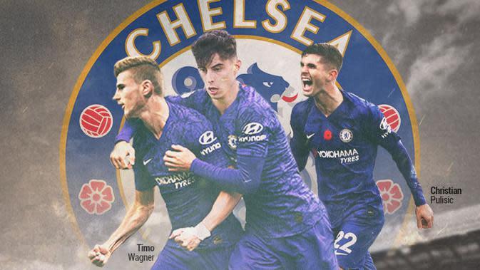 Chelsea - Kai Havertz, Timo Wagner, Christian Pulisic (Bola.com/Adreanus Titus)
