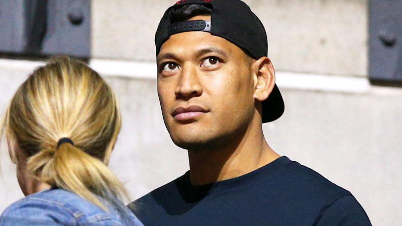 Israel Folau at the Netball World Cup in England watching wife Maria. (Photo by Nigel French/PA Images via Getty Images)