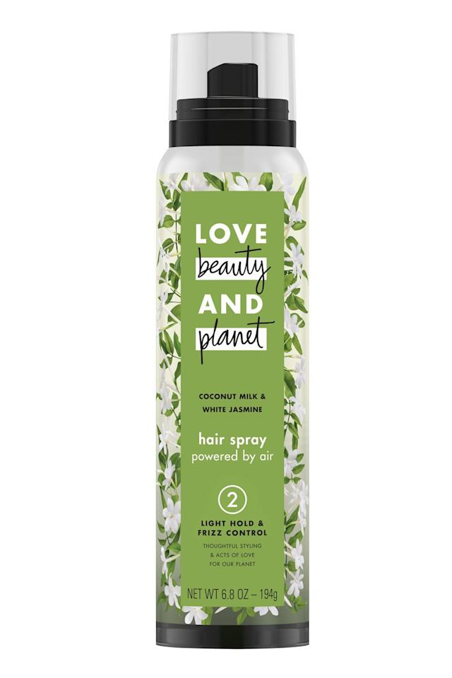 """<p><strong>Love Beauty and Planet</strong></p><p>ulta.com</p><p><strong>$4.47</strong></p><p><a href=""""https://go.redirectingat.com?id=74968X1596630&url=https%3A%2F%2Fwww.ulta.com%2Fcoconut-milk-light-hold-frizz-control-hair-spray%3FproductId%3Dpimprod2005520&sref=https%3A%2F%2Fwww.cosmopolitan.com%2Fstyle-beauty%2Fbeauty%2Fg25843731%2Fbest-hairspray%2F"""" target=""""_blank"""">Shop Now</a></p><p>This eco-friendly, <strong>non-aerosol hairspray is powered by air </strong>instead of the harmful greenhouse gases traditional hairsprays use. Even better: It's made with <a href=""""https://www.cosmopolitan.com/style-beauty/beauty/g20126849/organic-skin-care-brands-products/"""" target=""""_blank"""">organic and natural</a> ingredients, like coconut oil, coconut milk, and jasmine, to give your hair light hold without bombarding it with a ton of chemicals. </p>"""