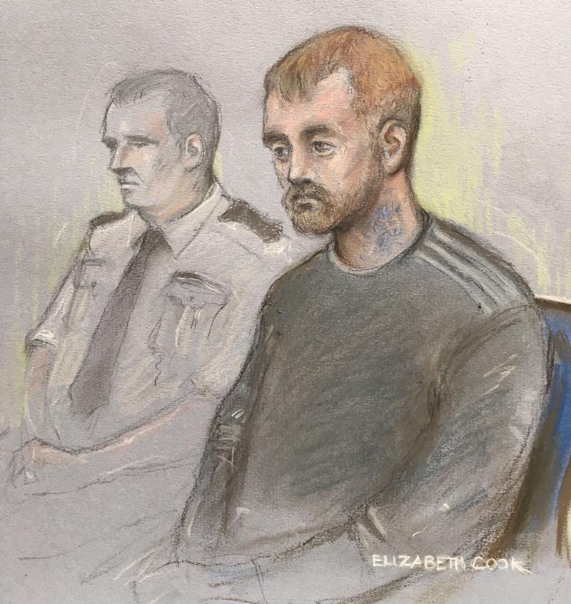 Stephen Nicholson, 25, (right) in the dock at Winchester Crown Court