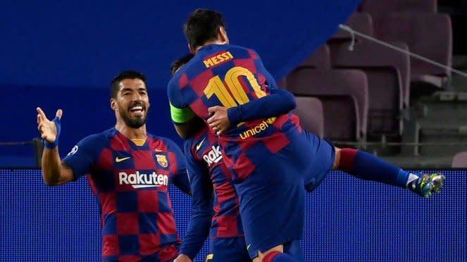 Selebrasi Lionel Messi usai cetak gol