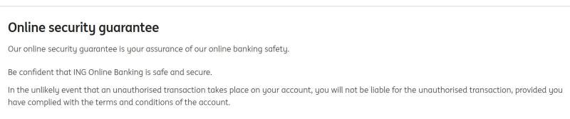 Screenshot of ING Australia online security guarantee.