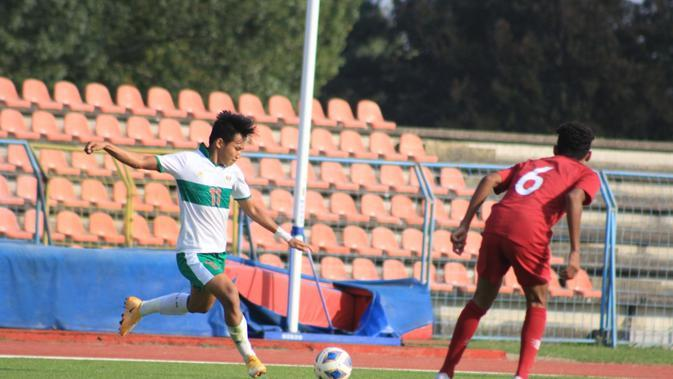 Laga uji coba Timnas Indonesia U-19 kontra Qatar di Kroasia, Kamis (17/9/2020). Tim Garud Muda berhasil menang 2-1 dalam laga itu. (Dok. PSSI)