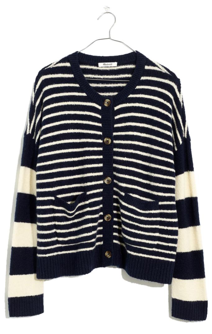 Madewell Colburn Stripe Play Coziest Textured Yarn Cardigan Sweater in Deep Navy