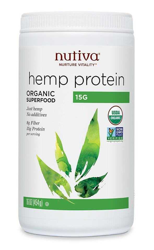 """<p><strong>Nutiva</strong></p><p>amazon.com</p><p><strong>$11.69</strong></p><p><a href=""""http://www.amazon.com/dp/B001JU81ZG?tag=syn-yahoo-20&ascsubtag=%5Bartid%7C2141.g.27044014%5Bsrc%7Cyahoo-us"""" target=""""_blank"""">SHOP NOW</a></p><p>What sets Nutiva's hemp protein powders apart is its cold-processed technique of extracting the protein from the hemp plant without using harmful chemicals. Amazon customers have added Nutiva's hemp protein powders to pasta sauces as well as yogurt dressings and baked goods. But they also warn that the earthy taste of hemp could be a little overpowering so a little goes a long way. """"Great way to add protein to food but only in very small quantities. It leaves an overpowering earthy taste that tends to mask all other flavors—and I love to cook with garlic!"""" one Amazon reviewer says. </p><p><strong>Nutrition info (per 3-tablespoon serving):</strong> 90 calories, 3 g fat (0 g saturated fat), 9 g carbs (8 g fiber, 1 g sugar), 15 g protein, 0 mg sodium</p>"""
