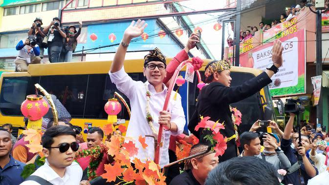 Menteri Pariwisata Wishnutama saat menghadiri Bogor Street Festival Cap Go Meh, Sabtu (8/2/2020) malam. (Liputan6.com/Achmad Sudarno)