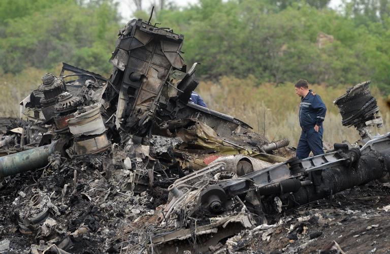 Rescuers at the crash site of Malaysia Airlines flight MH17 near the Ukrainian town of Shaktarsk, on July 18, 2014
