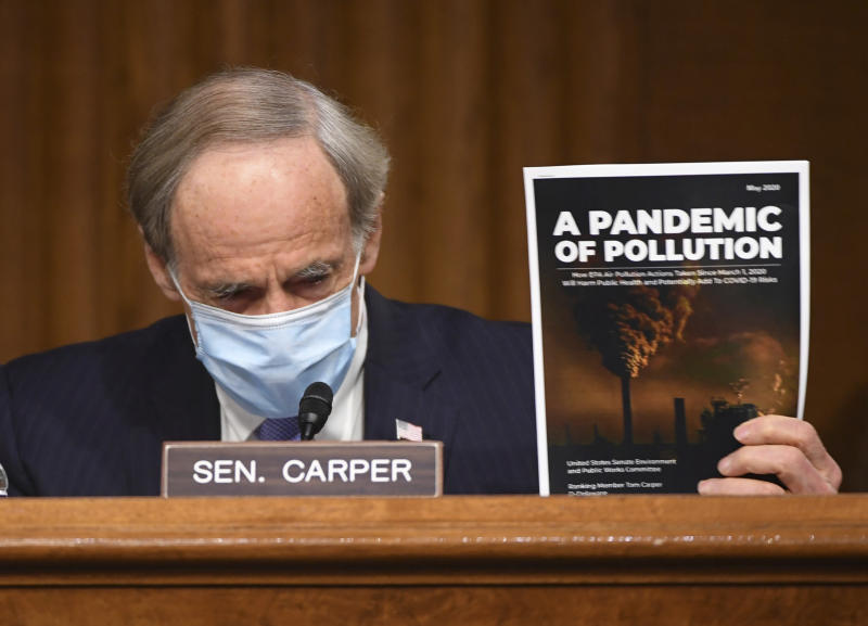 Ranking member Sen. Tom Carper, D-Del., delivers opening remarks during a Senate Environment and Public Works Committee oversight hearing to examine the Environmental Protection Agency, Wednesday, May 20, 2020 on Capitol Hill in Washington.  (Kevin Dietsch/Pool via AP)