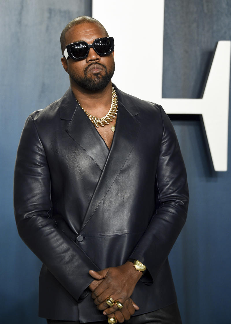 Kanye West arrives at the Vanity Fair Oscar Party on Sunday, Feb. 9, 2020, in Beverly Hills, Calif. (Photo by Evan Agostini/Invision/AP)