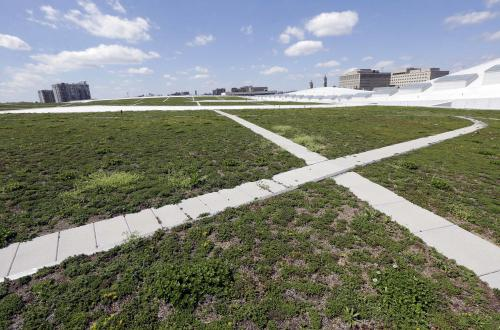 This April 12, 2013, photo shows a roof where sidewalks weave through fields of succulent plants on top of the Music City Center in Nashville, Tenn. Nashville's new convention center is transforming the look of downtown with its wavy roof dominating six city blocks, but tourism officials hope the eye-catching facility will also show business travelers a revitalized Music City. (A P Photo/Mark Humphrey)