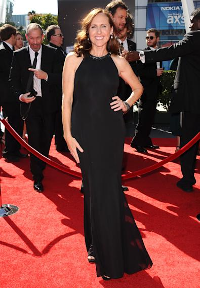 Molly Shannon arrives at the 2013 Primetime Creative Arts Emmy Awards, on Sunday, September 15, 2013 at Nokia Theatre L.A. Live, in Los Angeles, Calif. (Photo by Scott Kirkland/Invision for Academy of Television Arts & Sciences/AP Images)