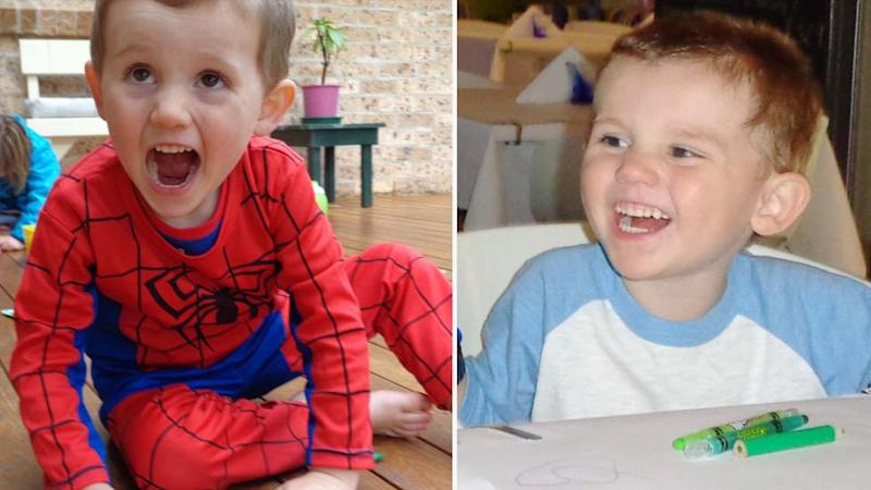 Missing toddler William Tyrrell pictured in his Spiderman suit on the right. Pictured smiling and seated at a table in the left image.
