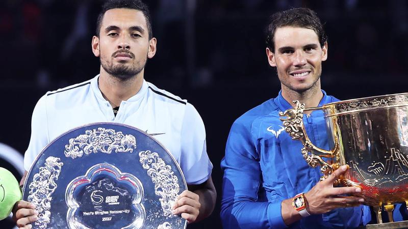 Nick Kyrgios and Rafael Nadal. (Photo by Lintao Zhang/Getty Images)