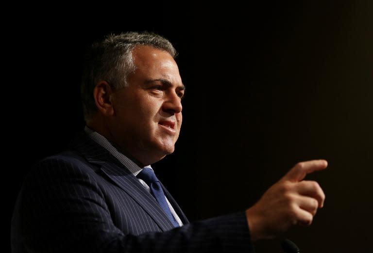 Australian Treasurer Joe Hockey speaks at the G20 Investment Forum Opening Plenary in Sydney, on July 19, 2014