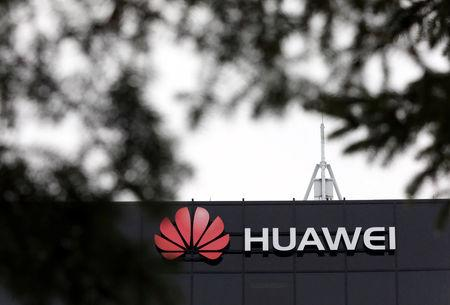 The Huawei logo is pictured outside their research facility in Ottawa