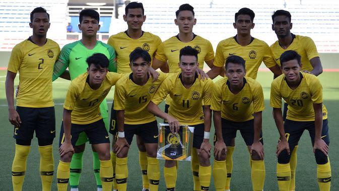 Timnas Malaysia U-22 jelang melawan Kamboja di Grup A SEA Games 2019 di Stadion Rizal Memorial, Manila (4/12/2019). (Bola.com/Dok. FAM)