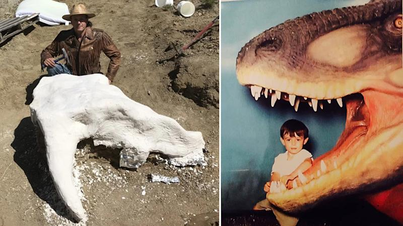 Professor Michael Kjelland in the process of excavating the skull and Harrison Duran as a four-year-old (right)