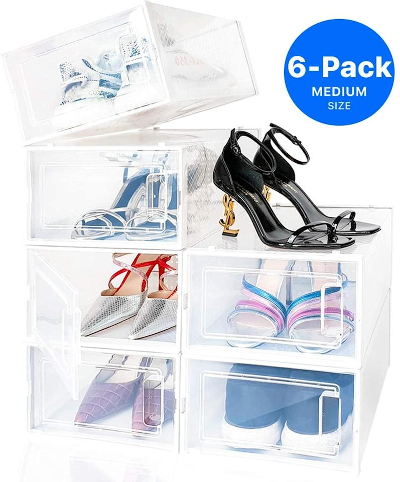 """<p>We love that this <a href=""""https://www.popsugar.com/buy/Neatly-Shoe-Organizer-579911?p_name=Neatly%20Shoe%20Organizer&retailer=amazon.com&pid=579911&price=37&evar1=casa%3Auk&evar9=46665573&evar98=https%3A%2F%2Fwww.popsugar.com%2Fhome%2Fphoto-gallery%2F46665573%2Fimage%2F46665607%2FPerfect-For-Shoe-Addicts&list1=shopping%2Camazon%2Corganization%2Cbedrooms%2Chome%20organization&prop13=api&pdata=1"""" rel=""""nofollow"""" data-shoppable-link=""""1"""" target=""""_blank"""" class=""""ga-track"""" data-ga-category=""""Related"""" data-ga-label=""""https://www.amazon.com/%C3%89LEVER-Organizador-apilables-almacenamiento-plegables/dp/B07TYJ5ZQ1/ref=sr_1_3?dchild=1&amp;keywords=Smilun+Closet+Storage+Organizer&amp;qid=1591385164&amp;sr=8-3"""" data-ga-action=""""In-Line Links"""">Neatly Shoe Organizer</a> ($37) is clear so you can easily see all your shoes.</p>"""
