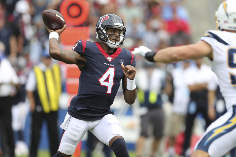 Houston quarterback Deshaun Watson invited a local high school player to this week's Texans game in recognition of his heroism during last week's flooding. (AP)