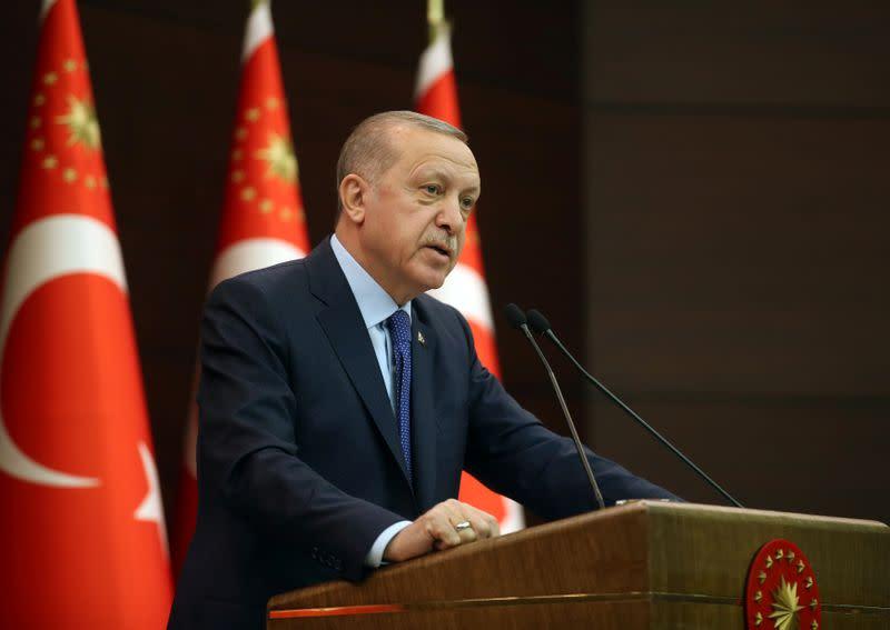 Turkish President Erdogan talks following a coronavirus disease (COVID-19) meeting in Ankara