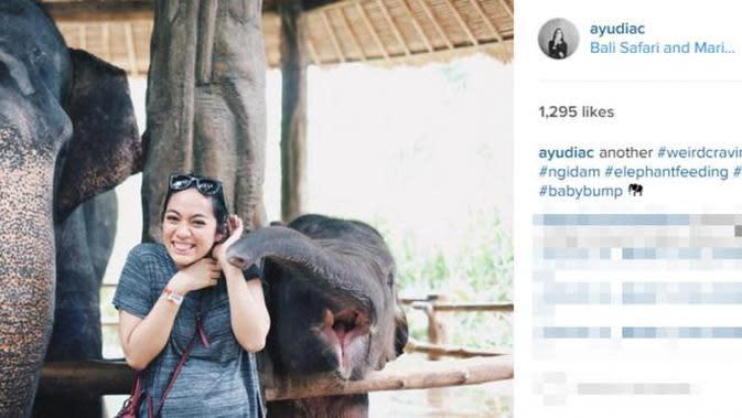 Artis Ayudia Bing Slamet juga berbeda dari kebanyakan orang ngidam. Saat ngidam anak pertama antara tahun 2015-2016 silam, istri Dito mengaku lebih senang bercocok tanam. Selain itu, ia juga ngidam ingin dicium gajah. (Instagram/ayudiac)
